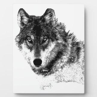 Black White Inspirational Wolf Eyes Plaque