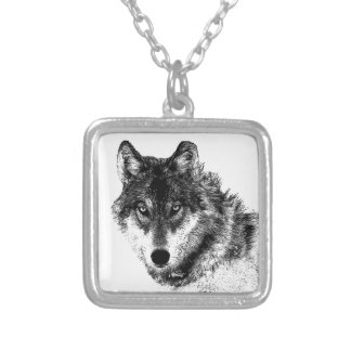 Black White Inspirational Wolf Eyes Silver Plated Necklace