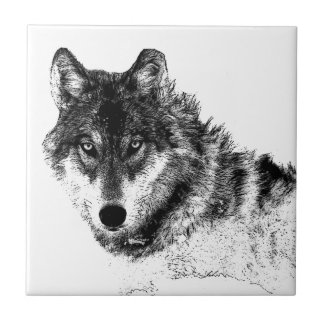 Black White Inspirational Wolf Eyes Small Square Tile