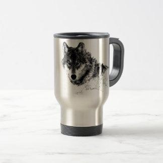 Black White Inspirational Wolf Eyes Travel Mug