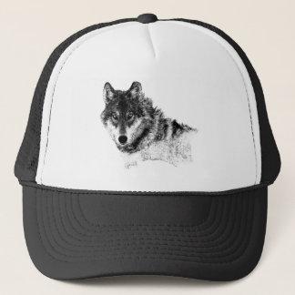 Black White Inspirational Wolf Eyes Trucker Hat