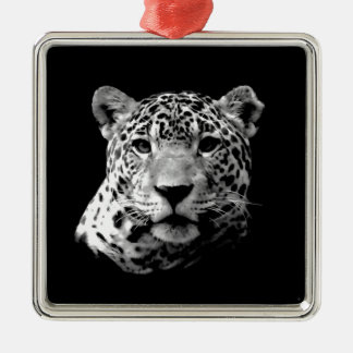 Black & White Jaguar Metal Ornament