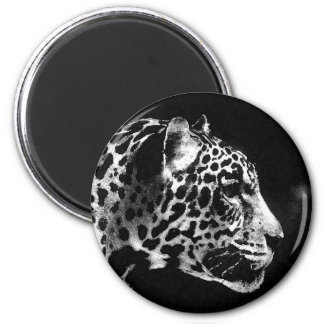 Black & White Jaguar Pop Art 6 Cm Round Magnet