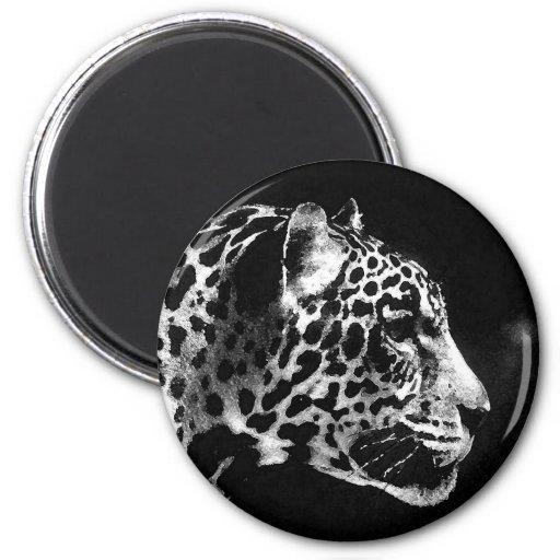 Black & White Jaguar Pop Art Fridge Magnet