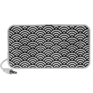 Black white Japaneese abstract wave pattern iPod Speakers