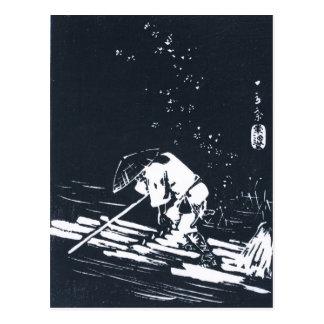 Black&White Japanese Logging Raft Postcard