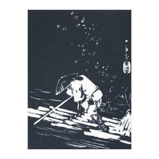Black&White Japanese Painting Hanaikada Canvas Print
