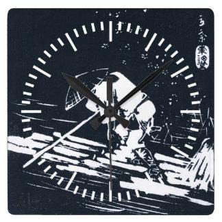 Black&White Japanese Ukiyo-e Hanaikada Square Wall Clock