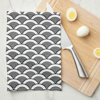 Black White Japanese Wave Pattern Tea Towel