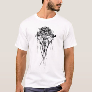 Black & White JellyFish-Tattoo Style T-Shirt