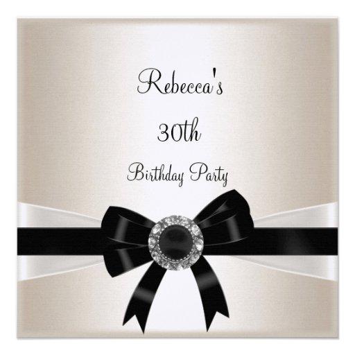 Black White Jewel Bow 30th  Birthday Silver Sepia Personalized Invites