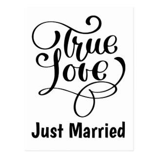 Black & White  Just Married True Love Wedding Postcard