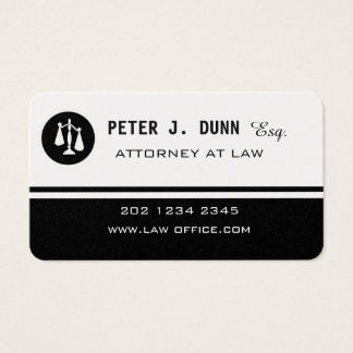 Black White Justice Scale Logo Law Attorney Magnet Business Card