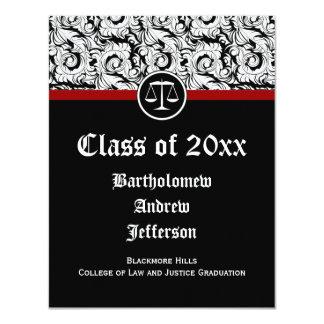 Black/White Justice Scales Law School Graduation 11 Cm X 14 Cm Invitation Card