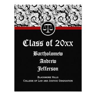Black White Justice Scales Law School Graduation Custom Invites