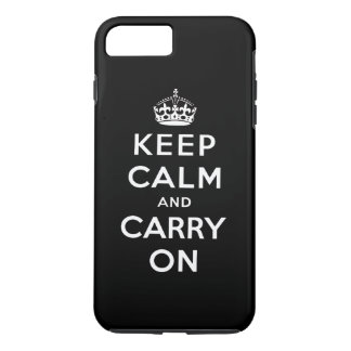 Black White Keep Calm and Carry On iPhone 8 Plus/7 Plus Case