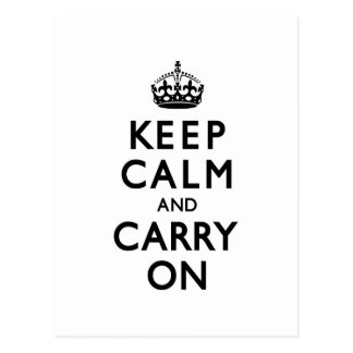 Black & White Keep Calm and Carry On Postcards