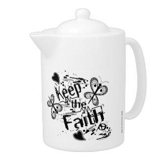 Black & White Keep the Faith Graffiti Teapot