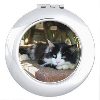 Black & White Kitty Cat Personal Compact Mirror