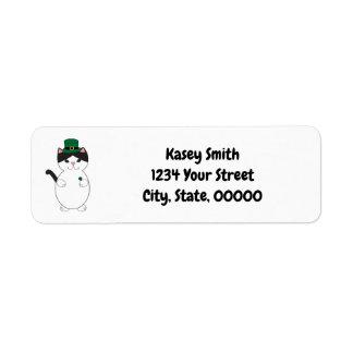 Black White Kitty Cat Shamrock Green Personalize Return Address Label