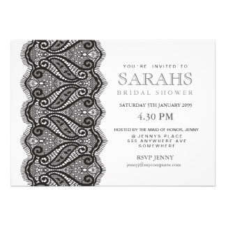 Black & White Lace Bridal Shower Party Invite