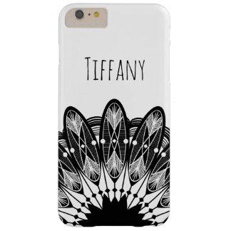 Black & White Lacey Mandala Custom Name Barely There iPhone 6 Plus Case