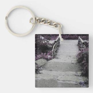 Black & White Landscape Bridge Photo Acrylic Keychains