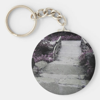 Black White Landscape Bridge Photo Keychain