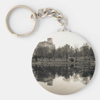 Black & White Landscape in Central Park Keychains