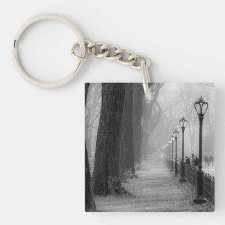 Black & White Landscape in Central Park Square Acrylic Keychain