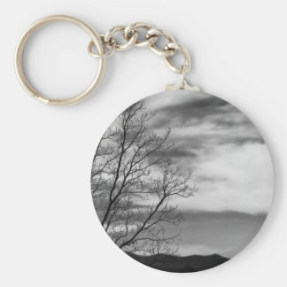 Black & White Landscape Nature Photo Basic Round Button Keychain