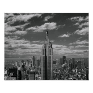 Black & White landscape of New York City skyline Poster