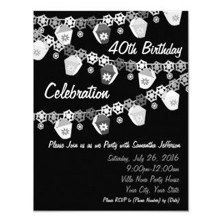 Black+White Lanterns Custom 40th Birthday Card