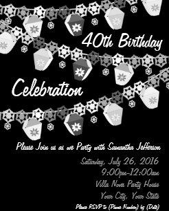 Black White Lanterns Custom 40th Birthday Invitation