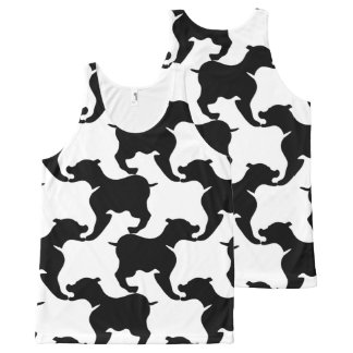 Black White large Dog Pattern Tank Top All-Over Print Tank Top