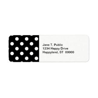 Black White Large Polka Dot Pattern Return Address Label