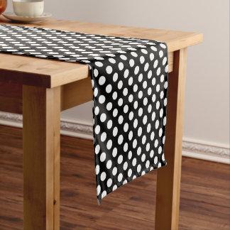 Black White Large Polka Dot Pattern Short Table Runner