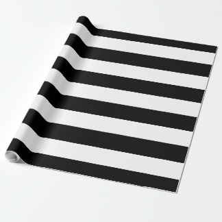 Black & White Large Striped   Customizable Wrapping Paper