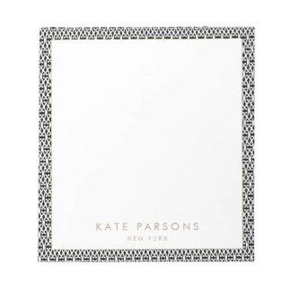 Black White Lattice Pattern Notepad