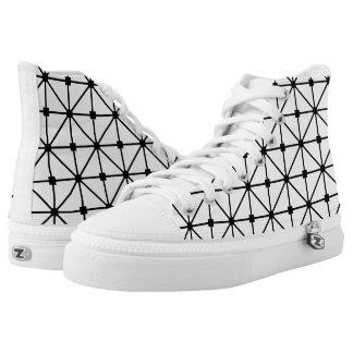 Black White Lattice Pattern Printed Shoes
