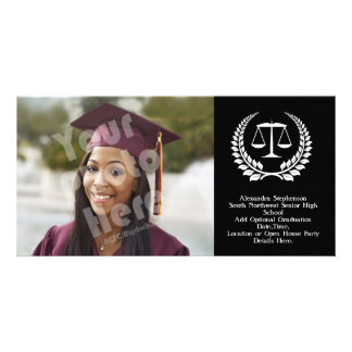 Black/White Laurel Law School Graduation Personalised Photo Card
