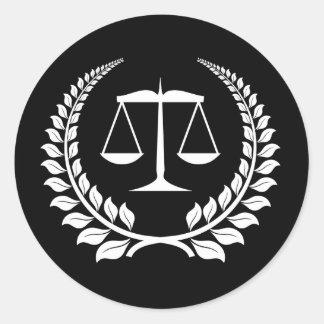 Black/White Laurel Law School Graduation Round Sticker