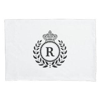 Black White Laurel Wreath Crown Monogram | Royal Pillowcase