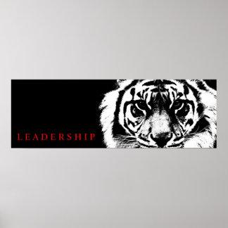Black White Leadership Tiger Poster Print