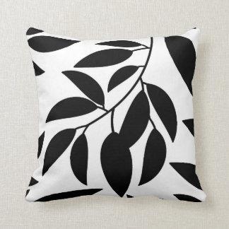 Black White Leaf Silhouette Throw Pillow