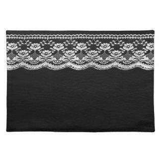 Black & White Leather & Lace Place Mat