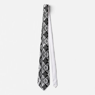 Black & White Leather & Lace Tie