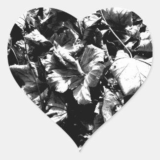 Black & White Leaves Heart Sticker