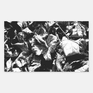 Black & White Leaves Rectangular Sticker