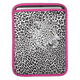 Black & White Leopard Camouflaged In Spots Pattern iPad Sleeve